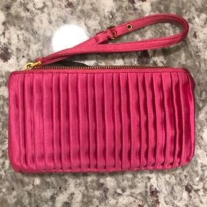 Miu Miu Pleated Satin Pink Wristlet